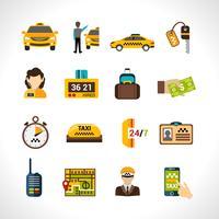 jeu d'icônes de taxi vecteur