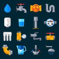 Icônes d'approvisionnement en eau vecteur
