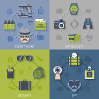 Espion gadgets composition 4 icônes plat vecteur