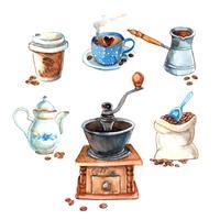 Ensemble de café aquarelle vintage dessiné à la main? vecteur