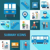 icônes du métro à plat