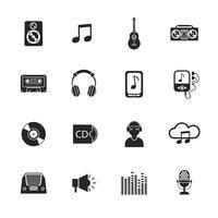 Icônes de la musique mis mobile noir