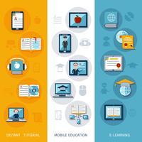 e-learning bannières verticales vecteur