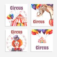 Set de cartes de cirque vecteur