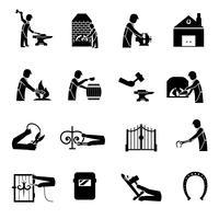 Forgeron Icons Noir vecteur