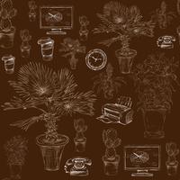 Papeterie de bureau sans couture avec motif de fleurs décoratives vecteur