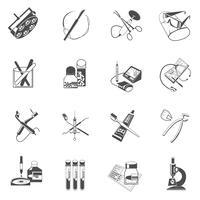 Icônes de soins de santé médical mis en noir