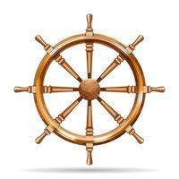 Roue de bateau en bois antique