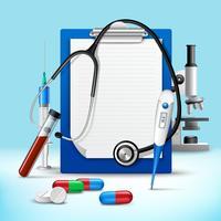 Stéthoscope et notes cadre médical