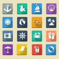 Icônes de vacances de mer d'été