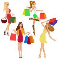Silhouettes fille shopping vecteur