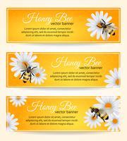 Ensemble de bannières d'abeilles vecteur