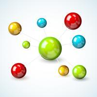Concept de modèle de molécule colorée vecteur