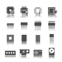 Jeu d'icônes de circuit informatique vecteur