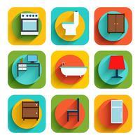 Icônes de meubles de maison vecteur