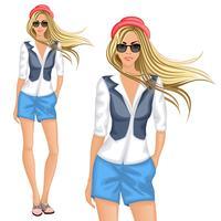 Fille blonde hipster vecteur