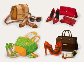 Collection de sacs femme chaussures et accessoires vecteur