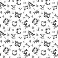 Modèle sans couture croquis alphabet vecteur