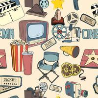 Papier peint coloré de cinéma doodle sans soudure vecteur