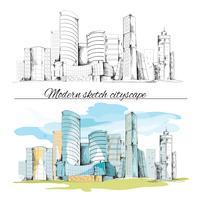 Paysage urbain de bâtiments de croquis moderne