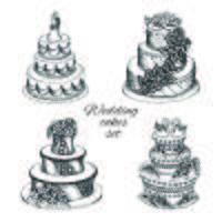 Set de gâteaux de mariage vecteur