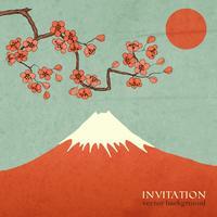 Carte postale d'invitation de montagne cerisier ou sakura
