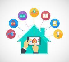 Une main tenant un téléphone portable contrôle la maison intelligente
