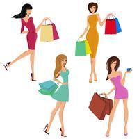 Chiffres fille shopping vecteur