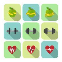 Fitness sport exercices jeu d'icônes de progrès vecteur