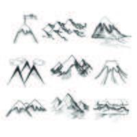 Icônes au sommet de la montagne vecteur