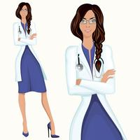 Jeune femme docteur vecteur