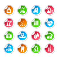 Autocollants d'icônes de soins de santé vecteur
