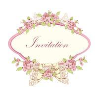 Invitation fleurie aux cerises vecteur