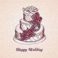 Carte de gâteau de mariage vecteur