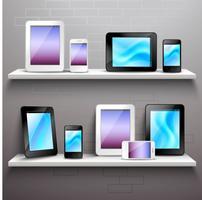 Dispositifs sur les étagères vecteur