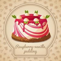 Étiquette pudding framboise vanille