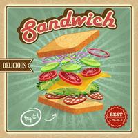 Affiche sandwich salami vecteur