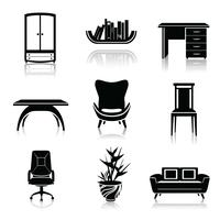 Icônes de meubles noirs