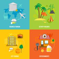 Construire des concepts de tourisme plat vecteur
