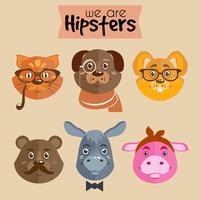Collection d'animaux de personnage de dessin animé hipster