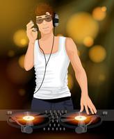 DJ mâle avec des écouteurs vecteur
