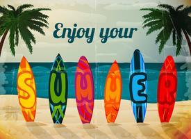 Affiche de planche de surf de vacances d'été vecteur