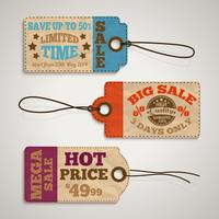 Collection d'étiquettes de prix de vente en carton