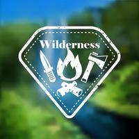 Emblème de tourisme de camping en plein air décoratif vecteur