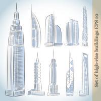 Jeu d'icônes de construction de gratte-ciels modernes vecteur