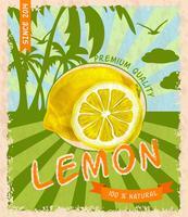 Affiche rétro citron vecteur