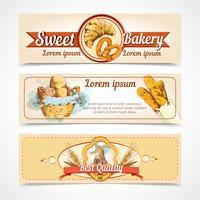 Bannières dessinées à la main de boulangerie vecteur