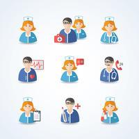 Médecin et infirmières Icons Set vecteur