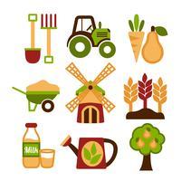 Jeu d'icônes de l'agriculture de récolte et de l'agriculture