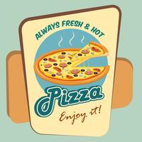 Affiche publicitaire ronde Pizza vecteur